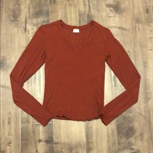 Wilfred Ribbed V-Neck Long Sleeve